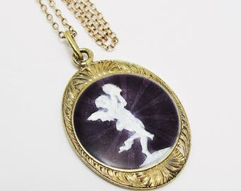 Antique 935 Gilt Swiss Enamel Pendant 9CT Gold Chain Necklace 1890-1907 Rare Marks Neoclassical Cupid