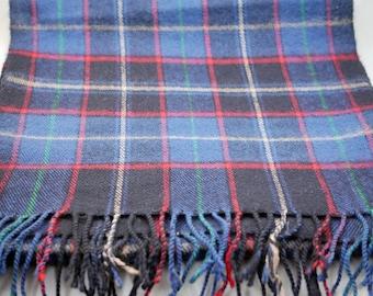 Vintage Pierre Cardin Wool Scarf Plaid Scarf Blue Plaid