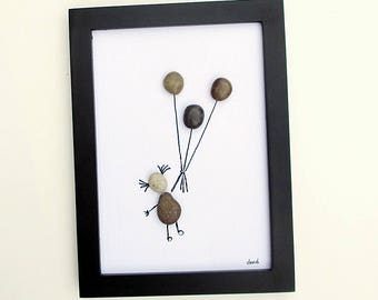 Pebble Art - Child Holding Balloons -- modern art, child's room art, minimalist art, nursery decor, original wall art