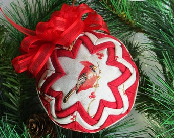 "Quilted Ornament - 3"" - Cardinal Ornament - Ornament Exchange, Co-Worker Gift, Tree Ornament, bird lover gift, Christmas ball ornament"