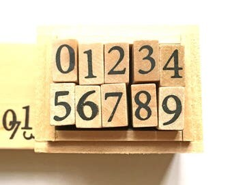 number rubber stamp set with wooden box. japanese rubber stamps. planner stamps. diy scrapbooking. card making. size M. set of 10 numbers