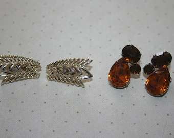 Two 2 Vintage Pairs of Clip On Earrings, Gold Tone, Amber, Brown Rhinestones
