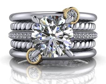 Diamond Bridal Set - Diamond Engagement Ring - Diamond Wedding Band - Anniversary Bands Set - Insieme™ Bridal Stackables