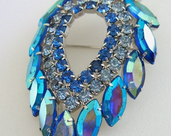 Sarah Coventry Blue Lagoon Brooch -  Made by Juliana D &E -  1960s Jewelry Book Piece