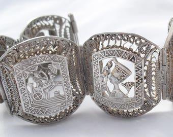 Antique Egyptian Revival Bracelet, Sphinx Pharaoh, Egypt Silver Filigree 1920s Jewelry