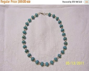 TWICE A YEAR, 25% Off Turquoise Color Magnesite and crystal necklace.