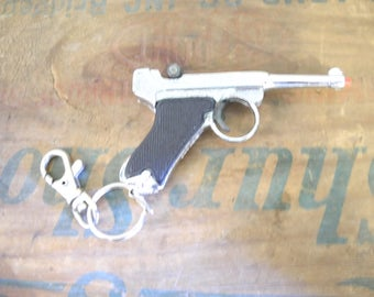 Tiny Cap Gun Key Chain. Pistol Key Chain. Collectible Key Chain. Key Ring.