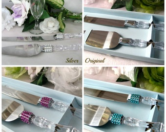 Wedding Cake Knife Serving Set, Mis Quince Anos, Sweet 16, Birthday, Baptism, Banquet, Baby Shower, Anniversary, Silver, Purple, Turquoise
