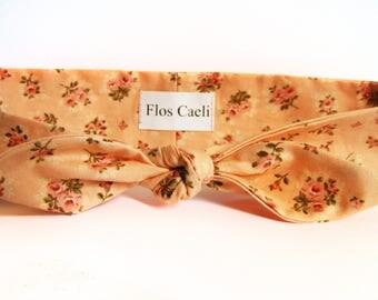 Peach Roses Headband - Little Roses on Cotton Fabric - Headbands - Summer Hair wrap