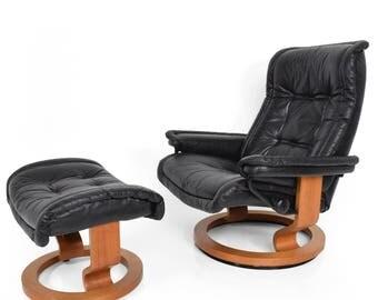 Vintage Scandinavian Modern Ekornes Stressless Recliner Chair & Ottoman