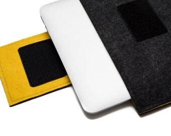 """MacBook 15"""" Sleeve, 15 inch Laptop Sleeve, Vegan Felt Case, 15.5"""" Laptop Cover - Dark Grey & Yellow"""