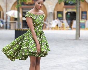 Lauren - green ankara print dress by GITAS Portal