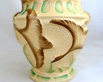 Art Deco Swan Vase, Burleigh Ware Large Hand-Decorated Sculptural Moulded Figural Flying Swans Vase 1940s