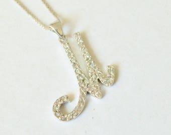 SALE Vintage Sterling Silver Initial Letter M CZ Pendant Necklace