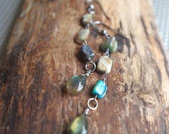 Labradorite and Mother of pearl Sterling Silver earrings - Boho earrings - Mermaid earrings