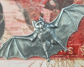 Large Bat Brass Stamping, Sterling Silver Finish, Brass Bats, Bat Stampings for Jewelry and crafting, Gothic Bat Stampings