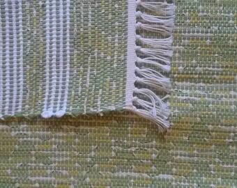 "Rag Rug - Hand-made - All Cotton - 23"" x 36"" - Spring Green Rug"