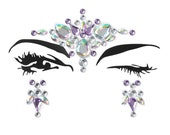 Face jewels & gems, stick on, body crystals, bindis, light purple, jewelry stickers, festival, rave, violet, glitter, sparkle, MERMAID party