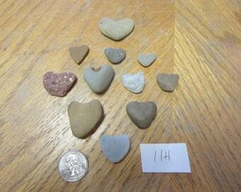 Lot of 11 Natural Stone Shaped Hearts Lake Michigan Art and Craft Supplies