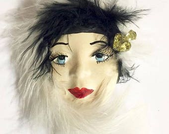 Vintage Porcelain Hand Painted Vintage Lady Face Brooch