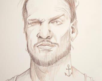 Signed Drawing Portrait Print, Wink, 8.5x11 inches. Man portrait, masculine art, beard, facial hair, Mens room art