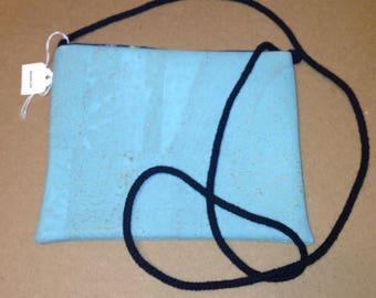 Natural CORK Crossbody Bag -  Vegan - Ocean Blue Color - Soft & Flexible