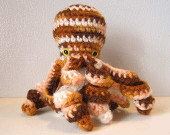 Sandy the Octopus : handmade crochet stuffed animal toy - Brown and White