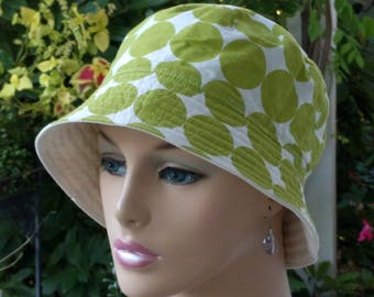 Women's Chemo Hat Bucket Hat Cancer Hat Reversible. Made in the USA. MEDIUM-LARGE