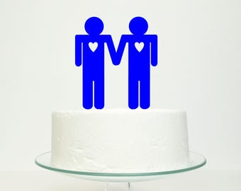 S A L E 'His n His' Gay Wedding Cake Topper in Royal Blue