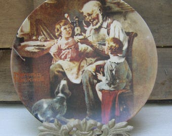 "Norman Rockwell Collectible Plate, ""The Toy Maker"", Vintage 1977, First Issue Plate, Edwin M. Knowles China Co., #6,712, Authenticated"