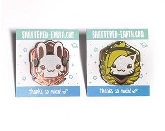LIMITED Glitter Overwatch Animal Pins - Glitter D.Va Bunny and Mercy Cat