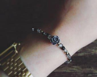 Black and Grey tone beaded bracelet gray rose cube crystal beads thin elastic bracelet gold accents stretch bracelet