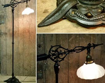 exceptional iron bridge lamp floor lamp very gothic industrial early 20th
