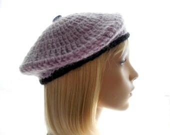 Women's Crochet Hat, Mohair - Blend Beret, Lavender Beret with Black Band, Small to Large Size