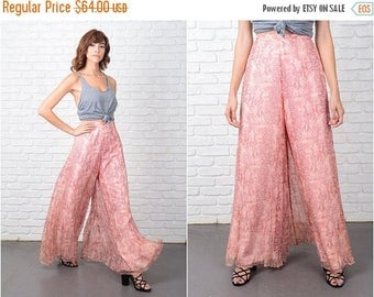 ON SALE Vtg 60s 70s Silk Trousers Pants Wide Leg Palazzo Pants Pink Reptile High Waist 9565