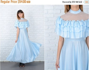 ON SALE Vintage 70s Blue Boho Dress Cape Tiered Sleeve Maxi Hippie Lace XS 8917