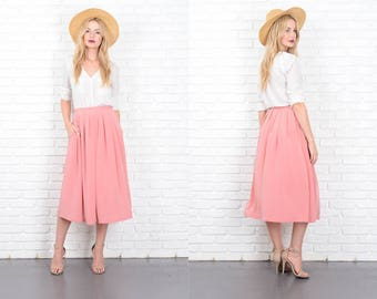 Vintage 70s 80s Pink Pleated Skirt A Line High Waist Full Small S 10182