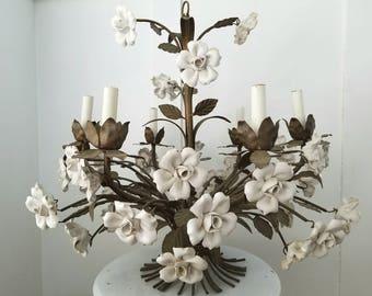Vintage Gold Gilt Tole White Ceramic Rose Six Light Chandeleir