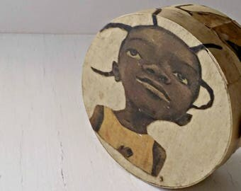 Vintage Birch Bark Jewelry Box, Round Treasure Box Trinket, African Girl Art Box Tribal, Decoupage Box, Whimsy Storage Box Jungalow Decor