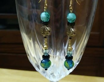 Teal glass beads and gold bead earrings