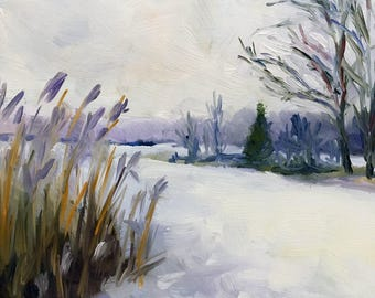 A Winter Sketch Original Impressionist Landscape Oil on Canvas Panel