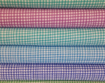 Blue Gingham Play Bundle from Michael Miller Fabrics - 100% Cotton - 6 Fabrics