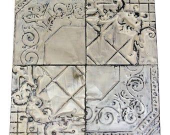 Antique White Corner Tin Panel Set