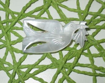 Vintage Carved Mother of Pearl Shell Peace Dove Brooch Olive Branch Pin