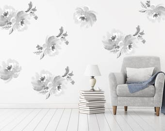 Floral Wall Decal  Removable and Reusable / Fabric Floral Wallpaper  / Nursery Wall Decal /  Peel and Stick Temporary Wallpaper