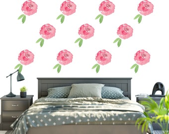 Renters Floral Wallpaper  / Removable  and Reusable Fabric Floral Wall Decal  / Flower Wallpaper / Peel and Stick Temporary Wallpaper