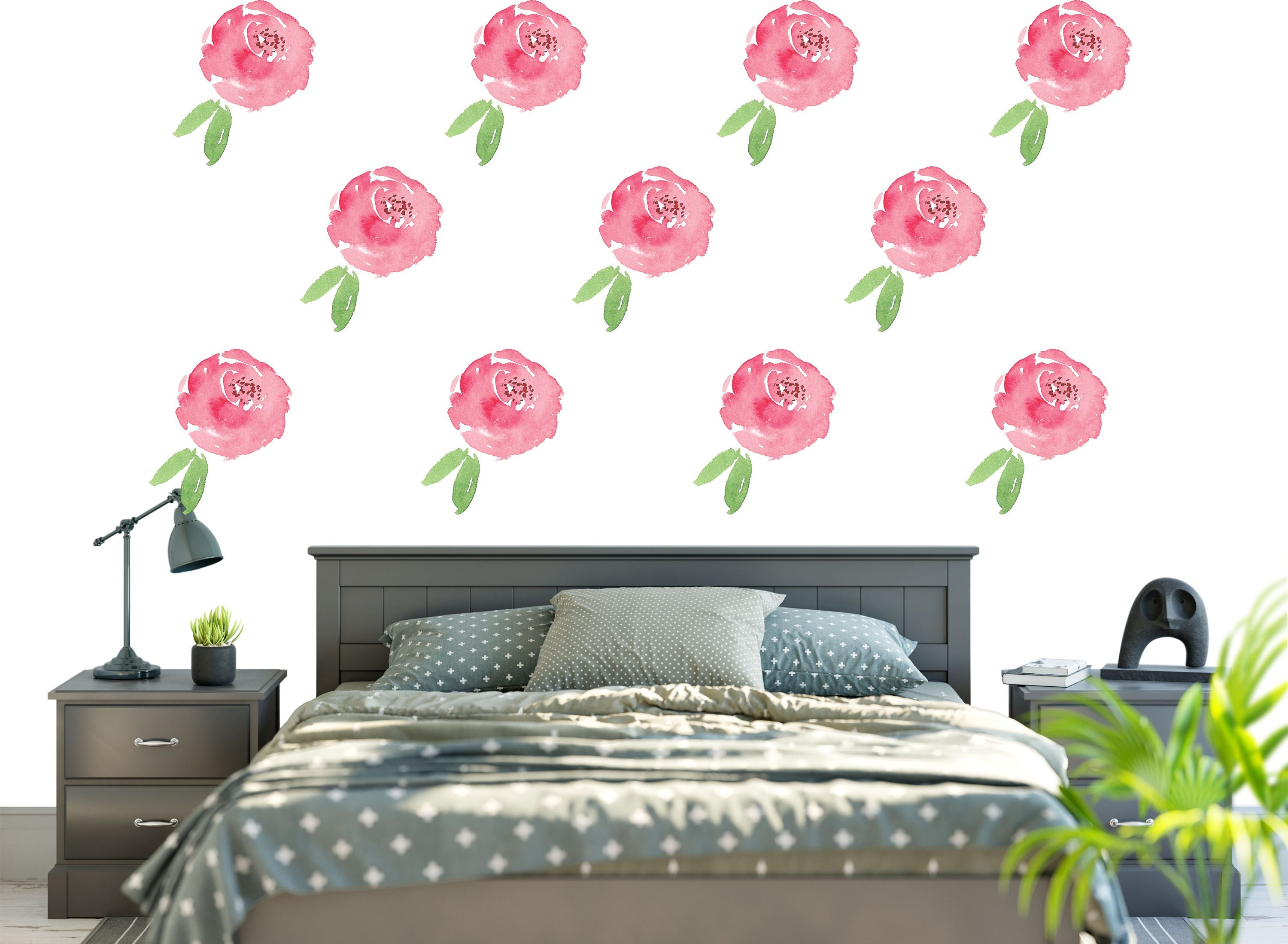 Renters floral wallpaper removable and reusable fabric Floral peel and stick wallpaper