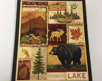 mountain lake bear wood sign cabin lake house home decor decorations camper