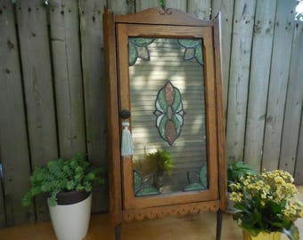 Vintage Oak Corner Cabinet With Hinged Front Door