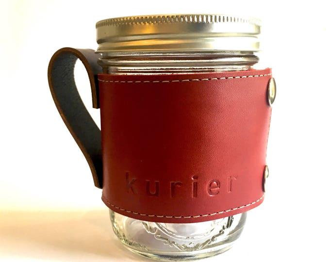 Red Kurier leather Camp Mug